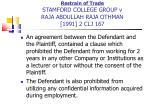 restrain of trade stamford college group v raja abdullah raja othman 1991 2 clj 167