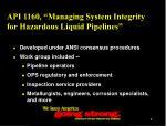 api 1160 managing system integrity for hazardous liquid pipelines