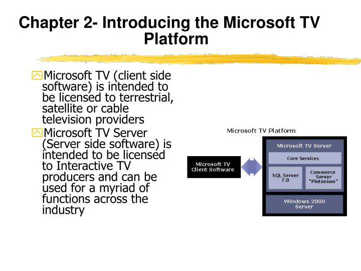 Chapter 2- Introducing the Microsoft TV Platform