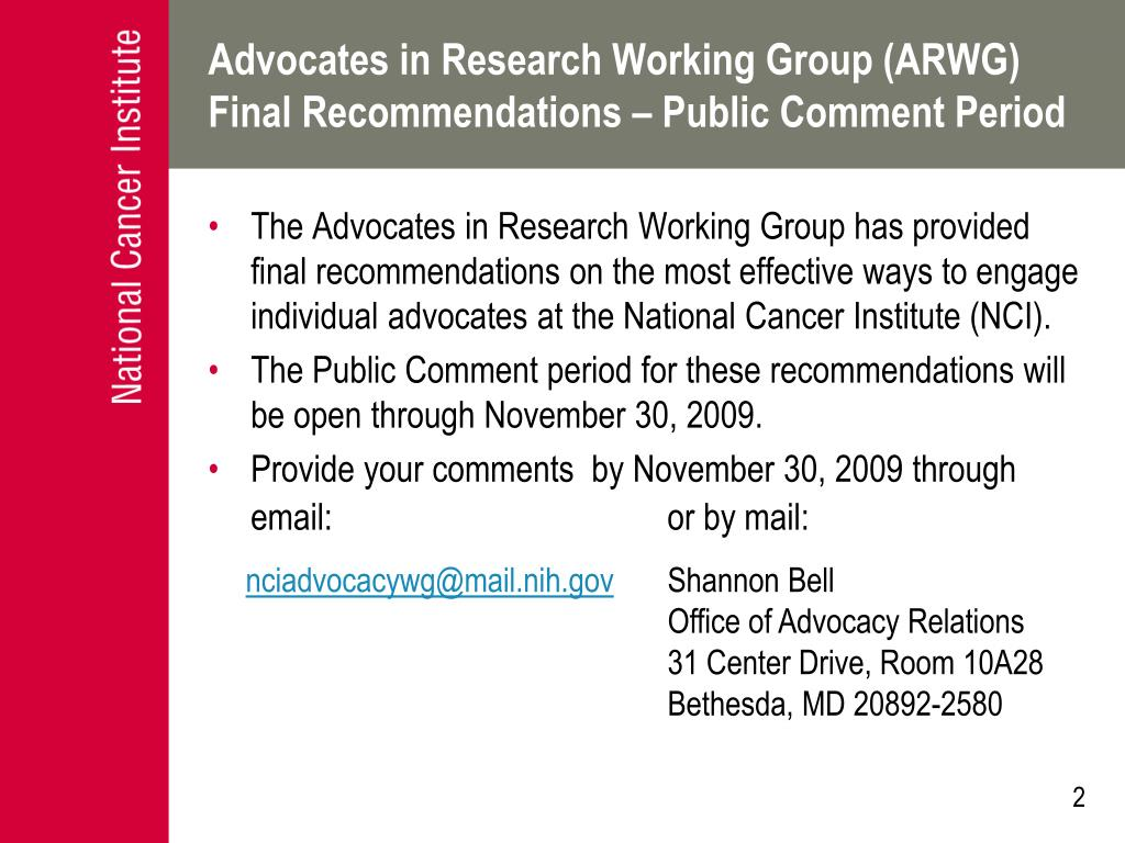 Advocates in Research Working Group (ARWG)