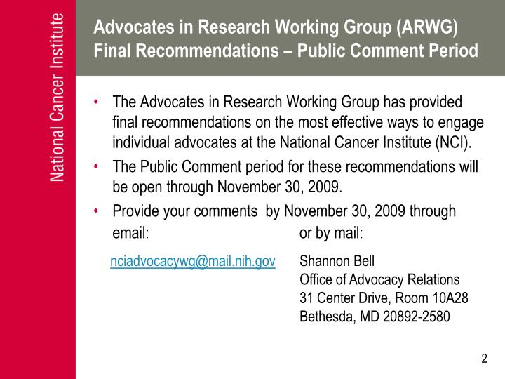 Advocates in research working group arwg final recommendations public comment period
