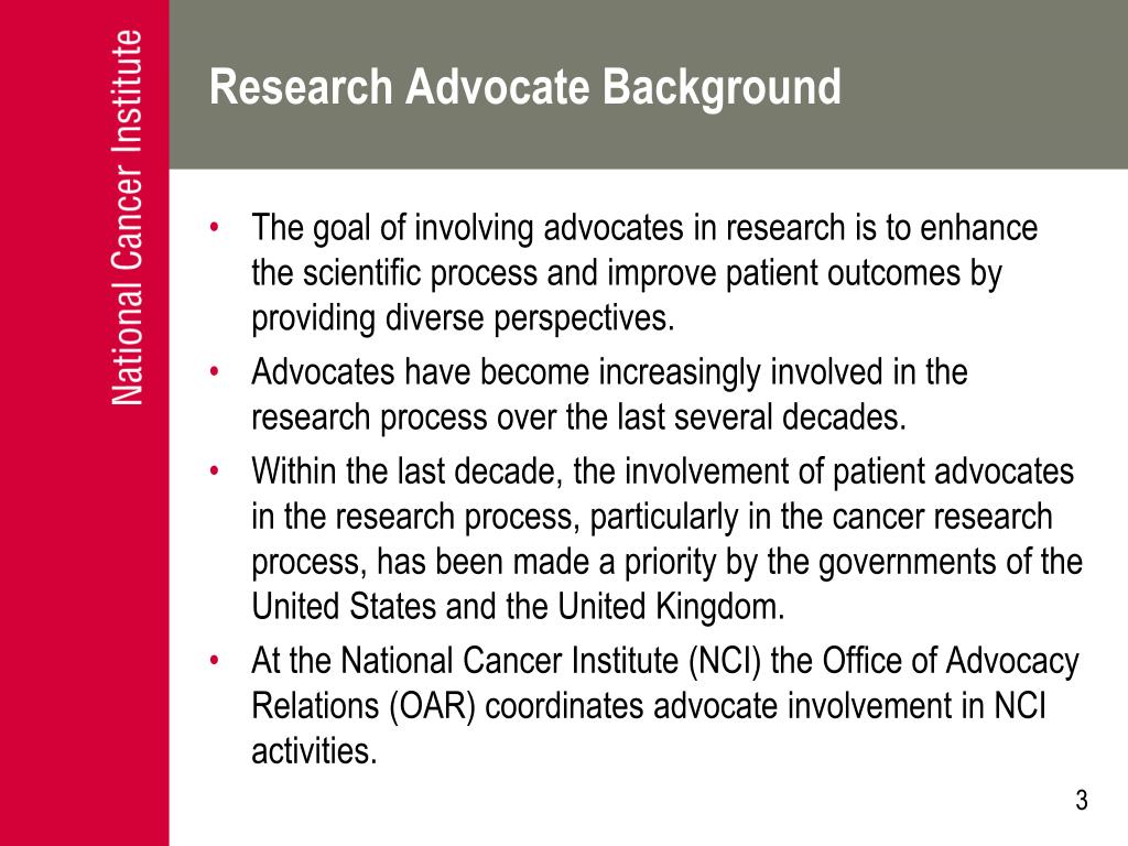 Research Advocate Background
