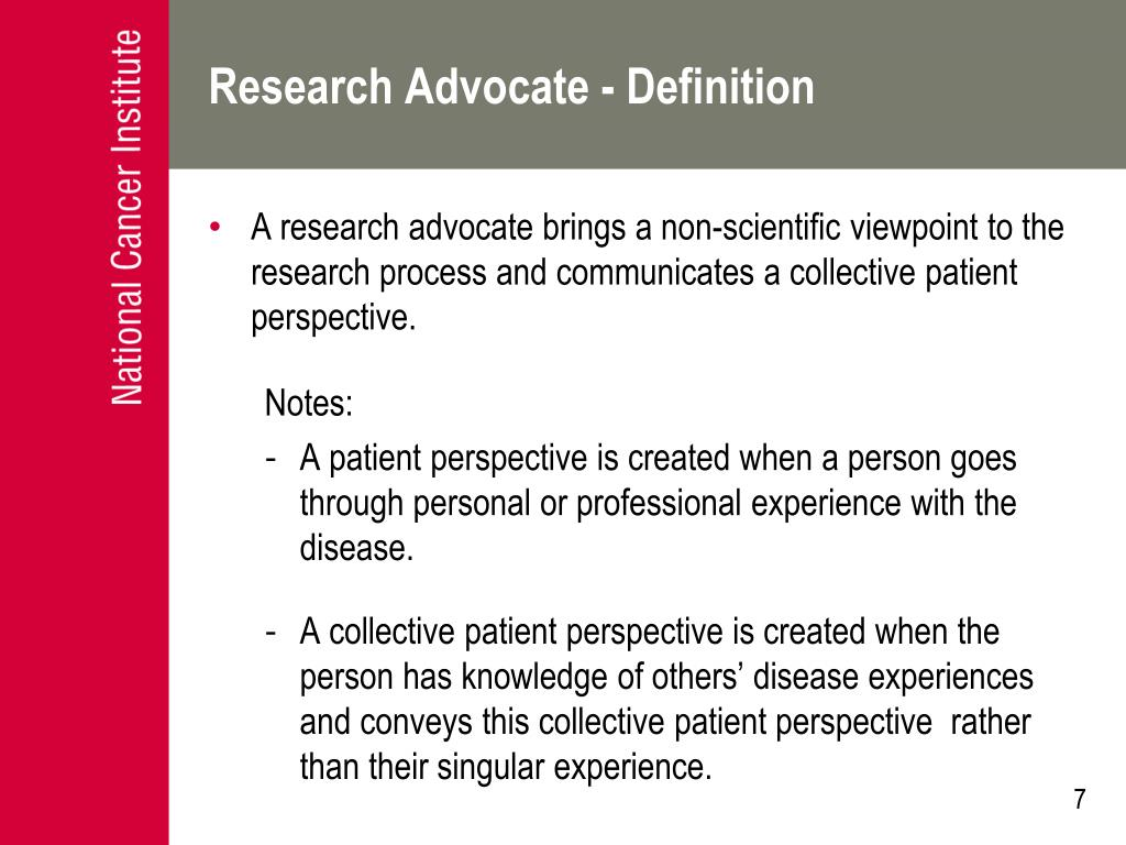 Research Advocate - Definition
