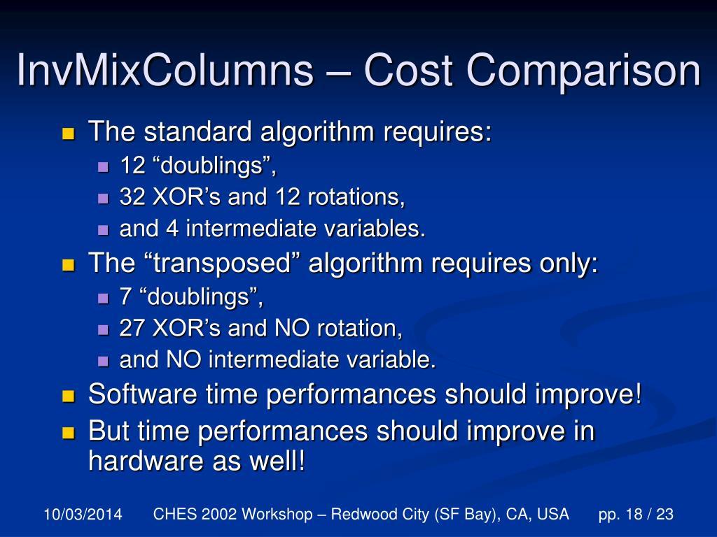 InvMixColumns – Cost Comparison