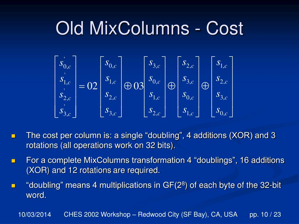Old MixColumns - Cost