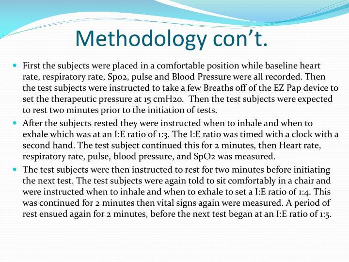 Methodology con't.