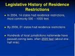 legislative history of residence restrictions