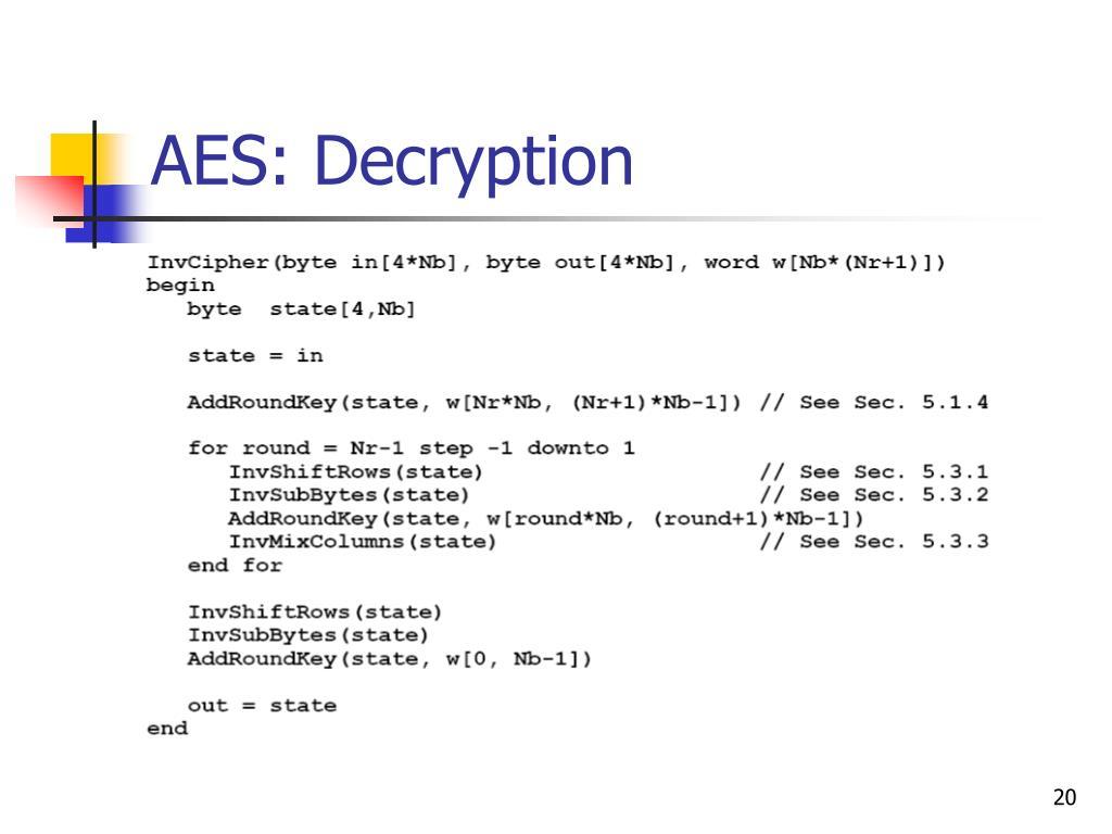 AES: Decryption