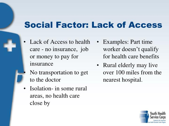 Lack of Access to health care - no insurance,  job or money to pay for insurance