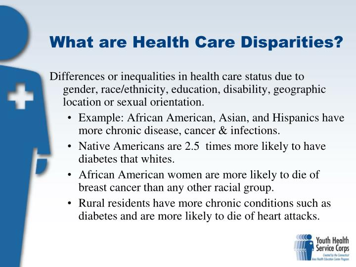 health essays gender health disparities Cdc releases second health disparities & inequalities report - united states, 2013 cdc and its partners work to identify and address the factors that lead to health disparities among racial, ethnic, geographic, socioeconomic, and other groups so that barriers to health equity can be removed.