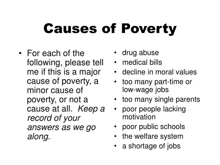 For each of the following, please tell me if this is a major cause of poverty, a minor cause of poverty, or not a cause at all.