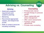 advising vs counseling