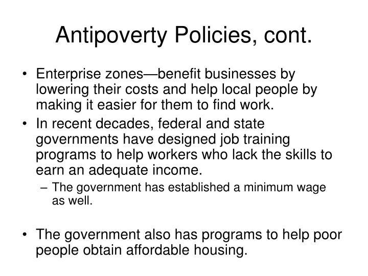 Antipoverty Policies, cont.