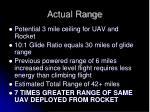 actual range