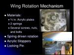 wing rotation mechanism