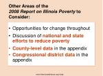 other areas of the 2008 report on illinois poverty to consider