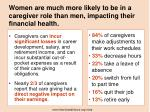 women are much more likely to be in a caregiver role than men impacting their financial health