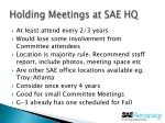 holding meetings at sae hq