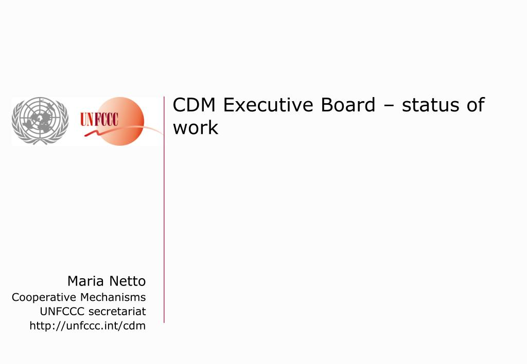 CDM Executive Board – status of work