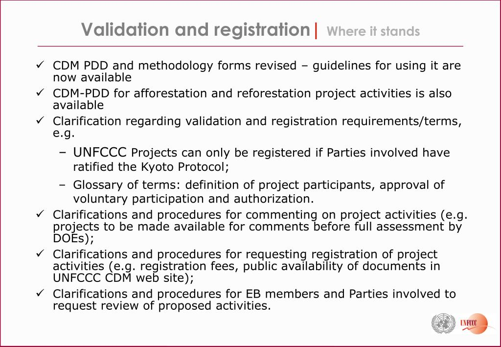 Validation and registration