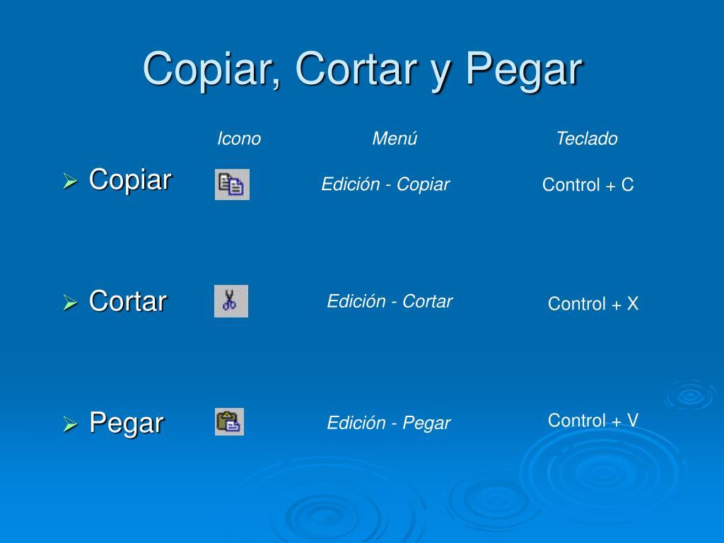 Copiar, Cortar y Pegar
