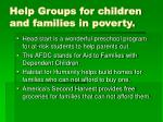 help groups for children and families in poverty