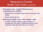 measures to contain health care costs continued
