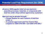 potential lead free requirement for oem