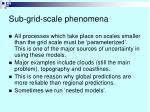 sub grid scale phenomena