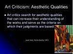 art criticism aesthetic qualities