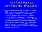 institutional biosafety committee ibc procedures
