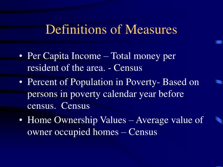 Definitions of measures