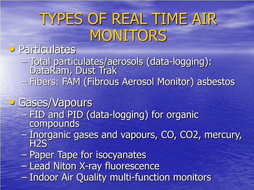 TYPES OF REAL TIME AIR MONITORS