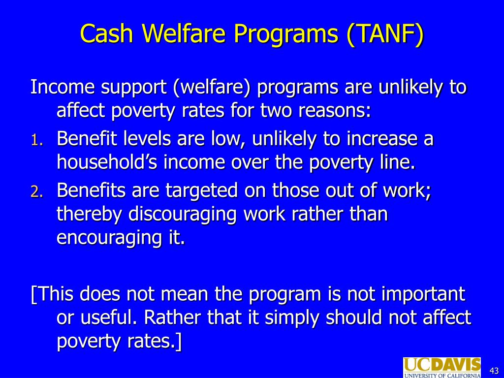 Cash Welfare Programs (TANF)