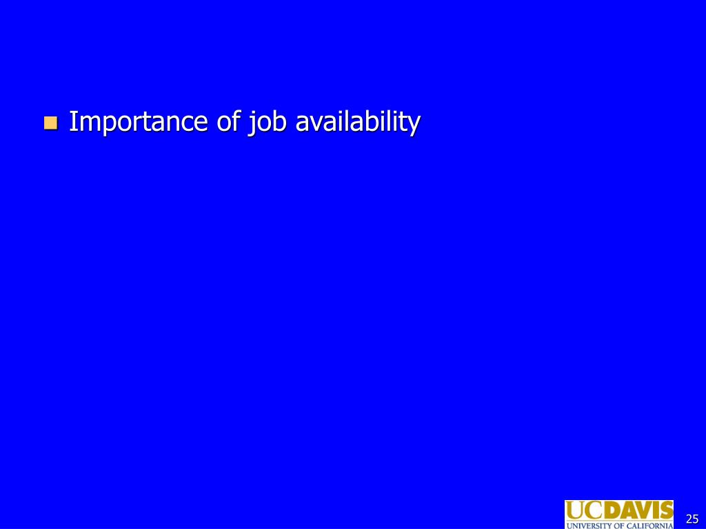 Importance of job availability