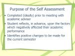 purpose of the self assessment
