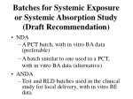 batches for systemic exposure or systemic absorption study draft recommendation
