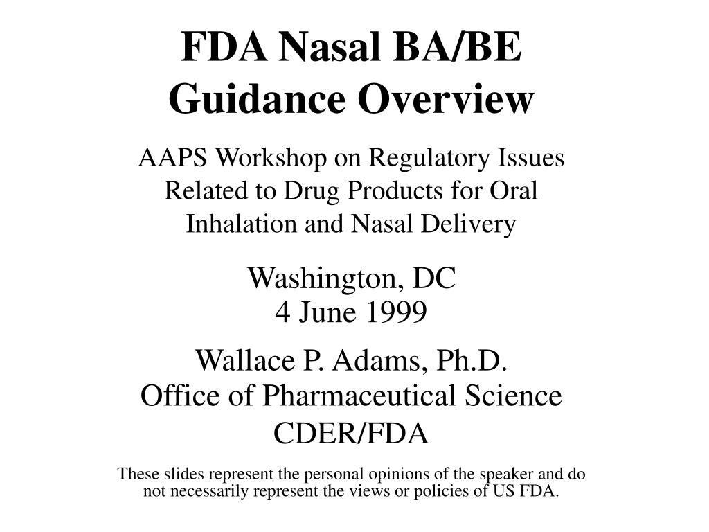 fda nasal ba be guidance overview l.
