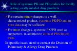 role of systemic pk and pd studies for locally acting orally inhaled drug products