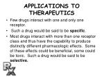 applications to therapeutics
