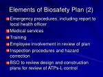 elements of biosafety plan 2