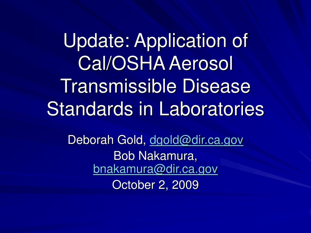update application of cal osha aerosol transmissible disease standards in laboratories l.