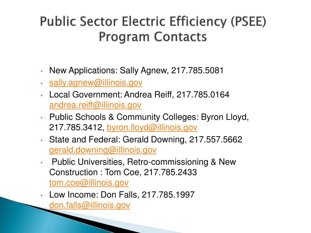 Public Sector Electric Efficiency (PSEE) Program Contacts