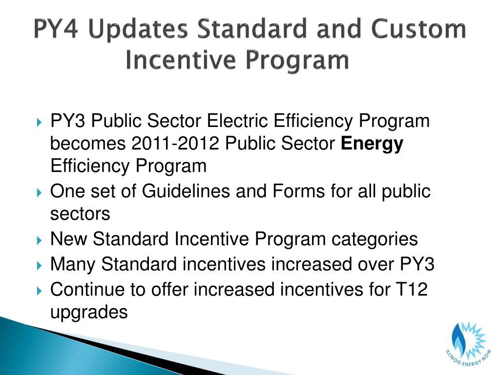 PY4 Updates Standard and Custom Incentive Program