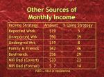 other sources of monthly income