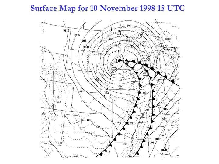 Surface Map for 10 November 1998 15 UTC