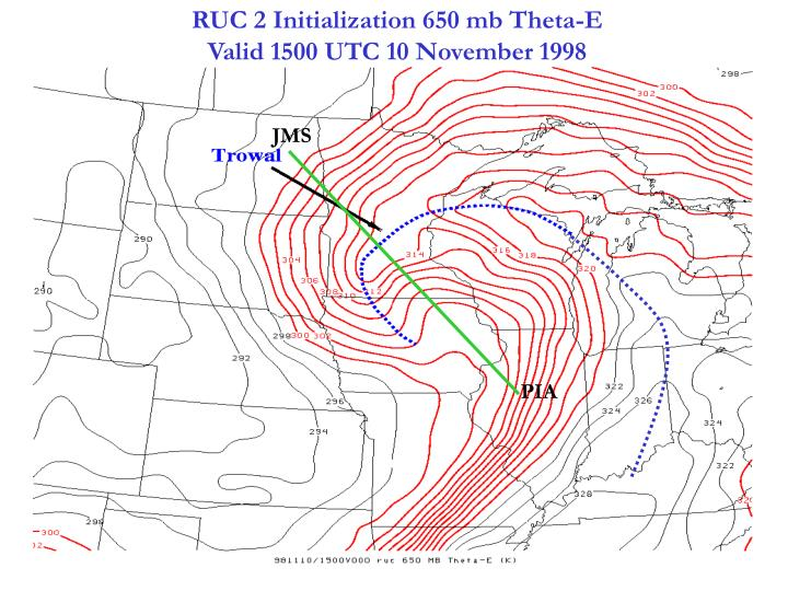 RUC 2 Initialization 650 mb Theta-E                                    Valid 1500 UTC 10 November 1998