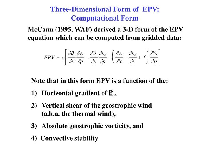 Three-Dimensional Form of  EPV: Computational Form