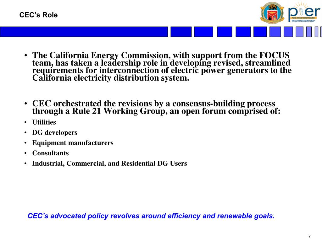 The California Energy Commission, with support from the FOCUS team, has taken a leadership role in developing revised, streamlined requirements for interconnection of electric power generators to the California electricity distribution system.