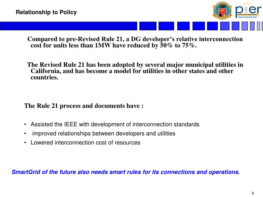 Compared to pre-Revised Rule 21, a DG developer's relative interconnection cost for units less than 1MW have reduced by 50% to 75%.